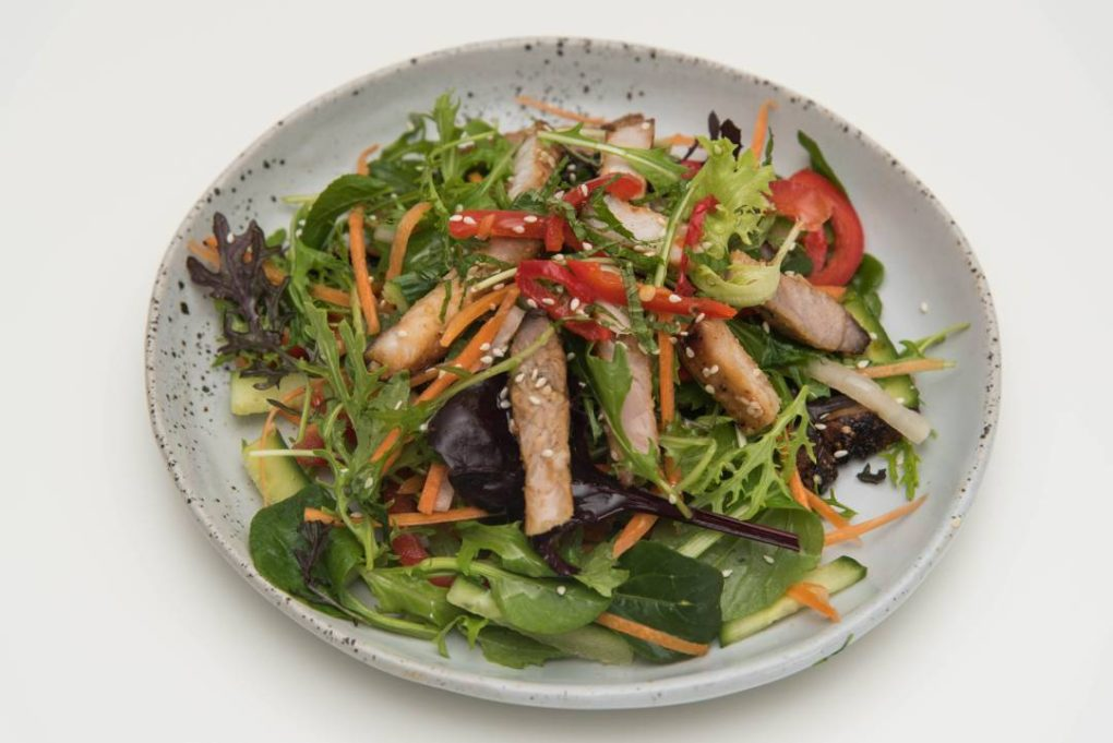 Grilled sesame pork salad from eat mi takeway and restaurant in Auckland