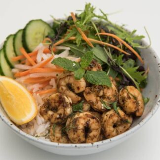 Pepper Garlic Prawns Rice Bowl from Eat Mi takeway and restaurant in Auckland