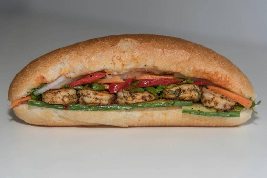 Pepper Garlic Prawn Bánh mì from Eat Mi Takeway and restaurant in Auckland