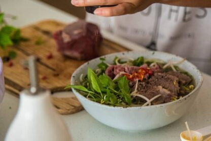 Pho - beef noodle soup by Eat Mi restaurant in Auckland